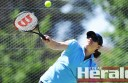 Louise Blersch swings through the ball during her team's first win of the Polwarth tennis season.