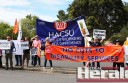 Health and Community Services Union members protested at the entrance of Colac's Colanda Centre yesterday before the Disability and Ageing Minister Martin Foley arrived for a meeting with residents, family members and staff.