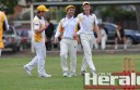 City United's Eli Cashion, centre, scored an unbeaten 65 runs to guide his team to victory against cross-town rival Colac. He is pictured with teammates Josh Weatherhead, left, and young star Jarrod Walters, who returned to the team following school commitments.