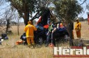 Emergency services worked to free a man from a one-vehicle crash on the Princes Highway east of Colac.