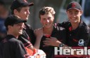 Sam Kelly, Kaden Beckett, Bryce McDonald and Tristan Mulder celebrate Irrewarra's Twenty20 win.