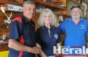 Colac Yacht Club commodore Ian Lane, event organiser Pam Cuthbertson and treasurer Bryan Cuthbertson are looking forward to the club's 130th anniversary celebration.