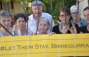 Birregurra residents, from left, Geraldine Gartland, Sarah Handscomb, Bernie Gartland, Anne Egan, Chris McQueen, Jenny Handscomb, and Maggie Grace showed their support for a campaign calling on Prime Minister Malcolm Turnbull to allow 267 asylum seekers to stay in Australia.