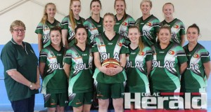 Colac fielded its first senior women's team in two decades this season, and tomorrow the team will play in a grand final. Pictured from back left are Emma Hawker, Lily Marwood, Emily Dorning, Asha Murnane, Hayley Dewar and Liesel Park. Front, coach Cheryl Creighton, Lauren Bellegante, Georgia Varley, Tiarna Rolph, Jessie Christiaans, Tarryn Hill and Emily Murfitt.