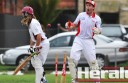 pollo Bay's Liam Harrington, right, watches in shock as Jack Pascoe clean bowls Stoneyford's James Beasley. But it was Beasley who was celebrating post-match, with the Maroon Caps winning by 12 runs to book a spot in the Division One grand final.