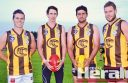 Colac Tigers' footballers will wear a heritage jumper that features the colours of the former Coragulac Hawks uniform. Pictured from left are Lachie Simpkin, Nick Lynch, Jake McGuane and Jake Carmody, who have all come from Coragulac families.