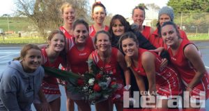 Alvie co-captain Cindy Throckmorton, pictured middle, brought up her 250th A Grade netball game during the Swans' round 15 clash with Simpson.