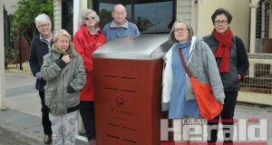 UPSET: Birregurra residents, from left, Jenny Handscombe, Linda Emerson, Heather McGowan, Peter Bell, Linda Jacovou and Sarah Handscombe are disappointed about the new bins in Main Street, Birregurra.