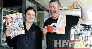 OPEN FOR BUSINESS: Blane's Newsagency's Jess Fish and Farmer's Son cafe owner Jamie McGuane are encouraging people to support Colac businesses planning to open on Friday.