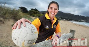 Returning Apollo Bay president Stacey Wilson, pictured on the Bay foreshore, is leading a netball committee eager to return the Hawks to Colac district netball's top grade in 2017.