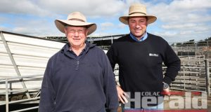 Colac Regional Saleyards superintendent Graeme Riches and Charles Stewart's Jamie McConachy hope Colac district sheep farmers will support this Thursday's sheep sale.