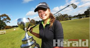 Colac teenager Georgia Fish, pictured, has ended Jayne McGlade and Maree Murnane's dominance of the golf club's ladies' championship.